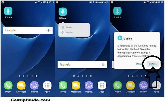 Disable the installed S Voice on Samsung mobile: