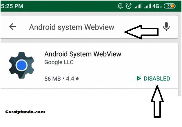 android system webview disabled