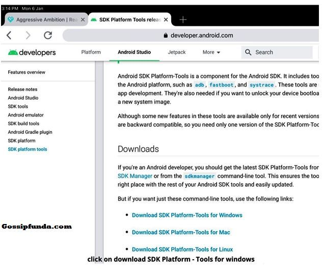 features overview, click on SDK platform tools