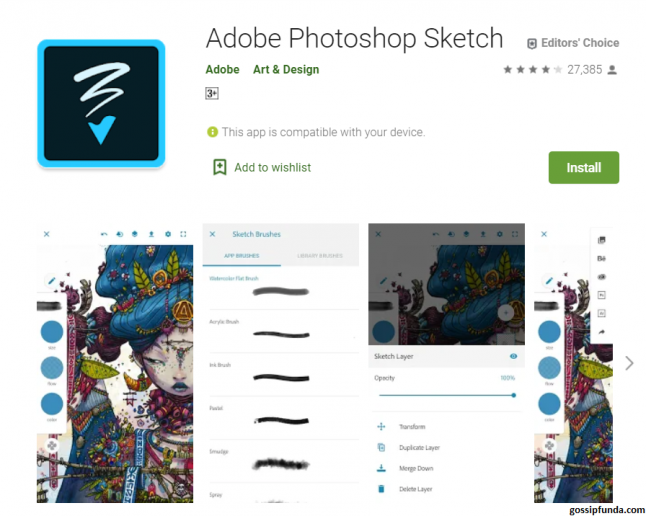Photoshop Sketch for Android available on Play Store