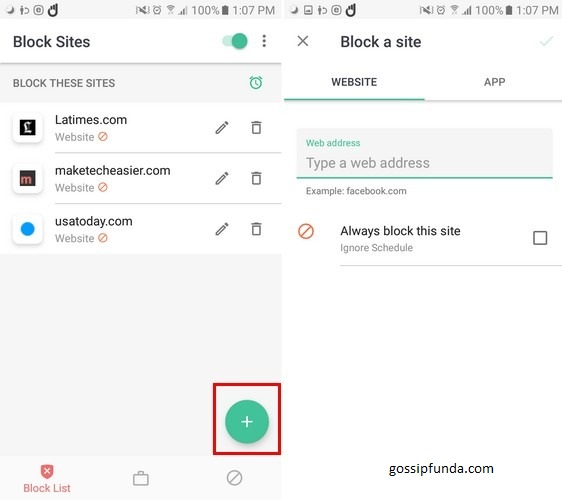 website blocking on android
