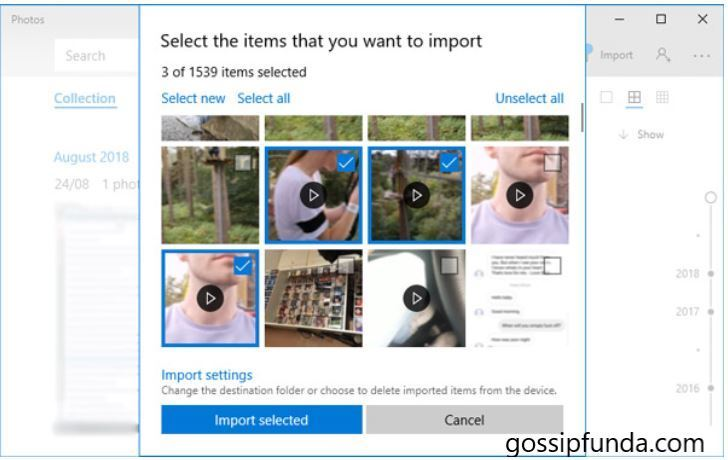 select item you want to import