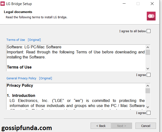 Accepting Privacy policy of LG Bridge
