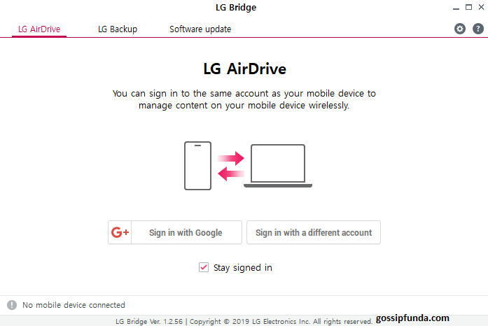 LG Drive stay signed in