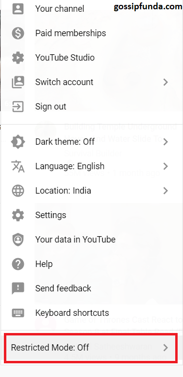 CLICKING ACCOUNT ICON: Restricted mode off