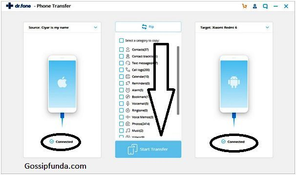 Transfer contacts from, android to iPhone