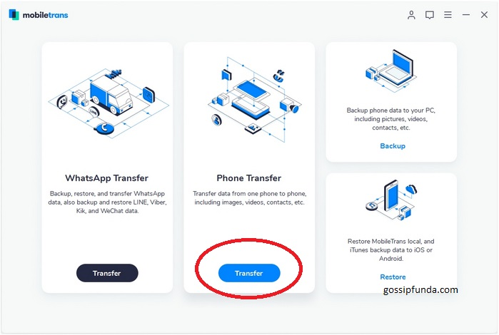 Transfer contacts using MobileTrans.