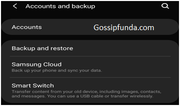 accounts and backup and restore to unsync all the apps