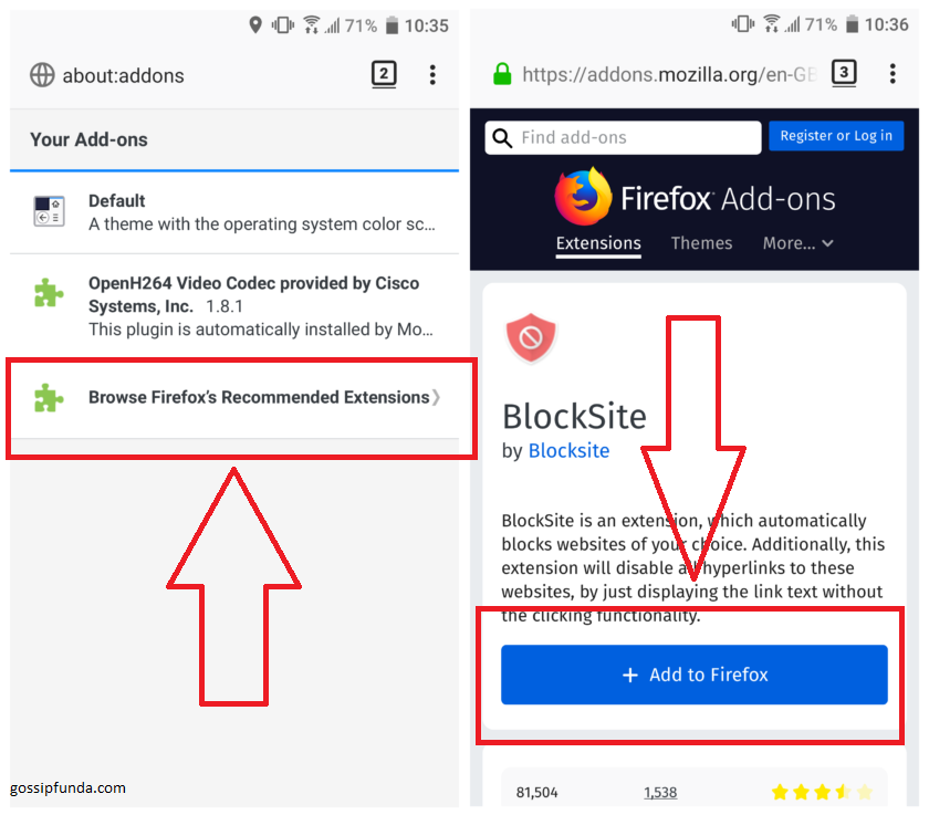 How to block websites on android? by Firefox