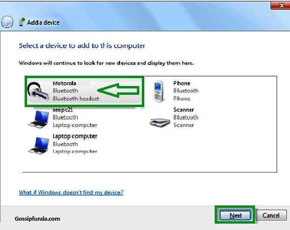 click your bluetooth device from the Windows 7 add a device wizard and click next