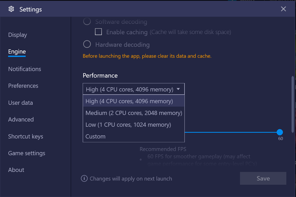 Engine -> Performance -> select the number of cores you want bluestacks to use