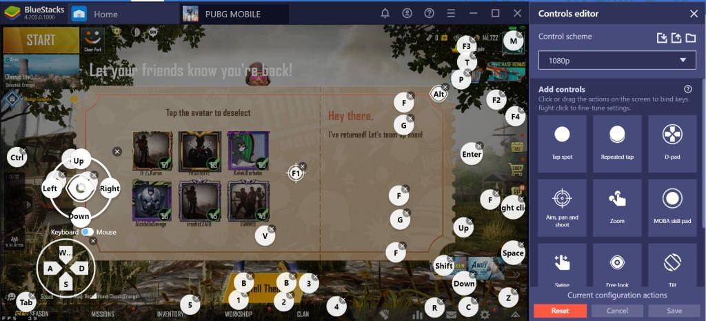 control editor and there you will find a set of controls using Bluestacks