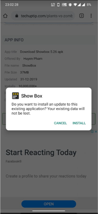 select Install ShowBox For Android