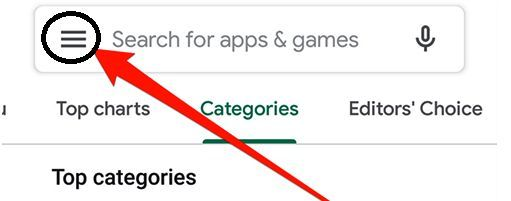 Open the play store and click on three horizontal lines