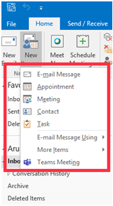 Generate an appointment, meeting, and contacts from a single window