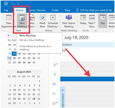 How to send a meeting request from a calendar