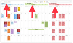 how different calendars share a single window