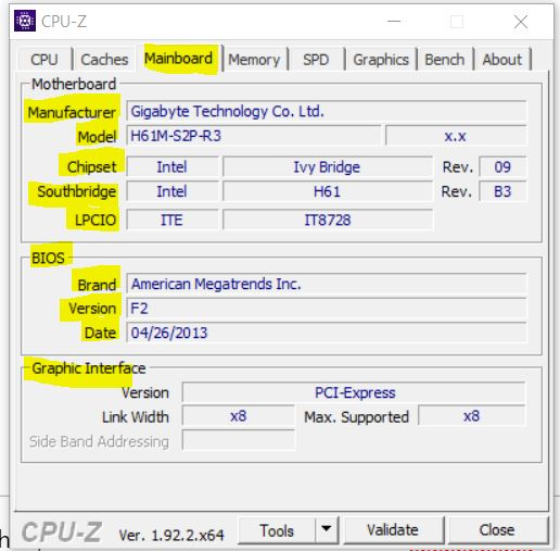 Motherboard on CPU z