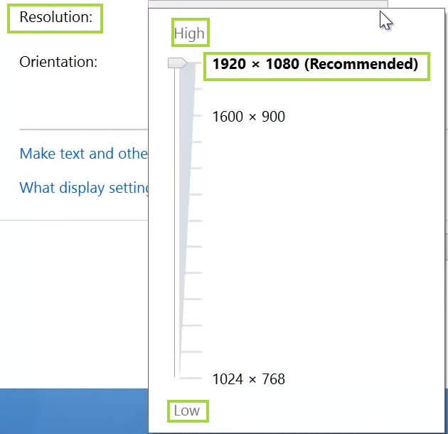 resolution using the slider and look for the recommended option