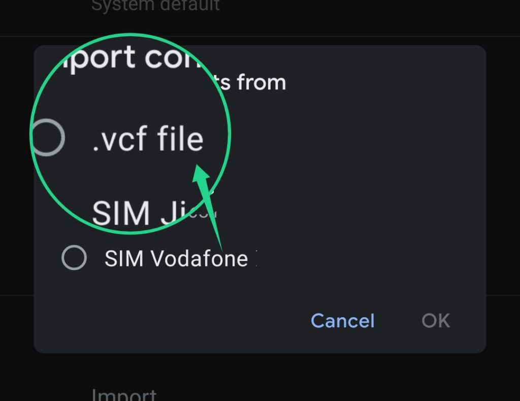 Transfer contacts by a VCF File