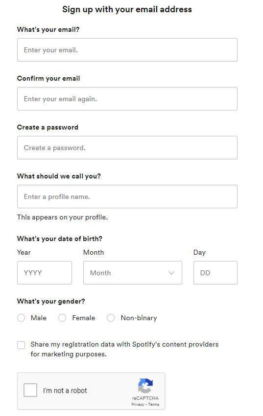 sign up with email
