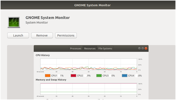gnome-system-monitor pop up