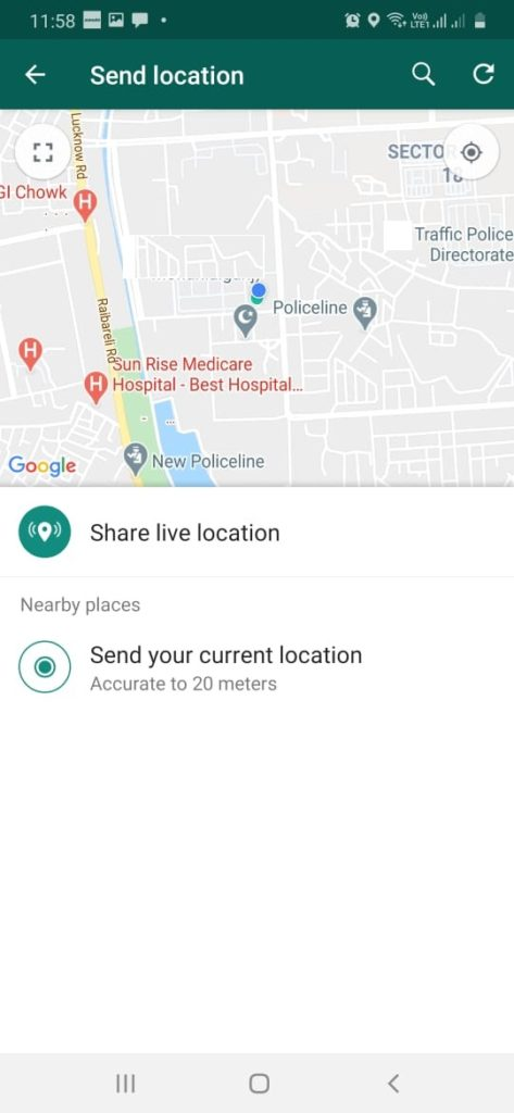Data used by Sending your location