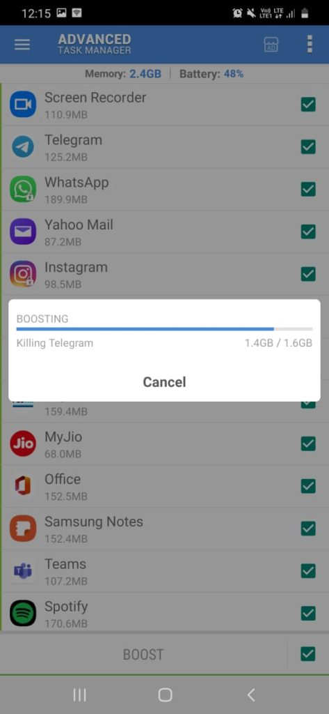 killing of applications running in the background