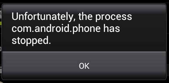 Unfortunately the process com.android.phone has stopped Error