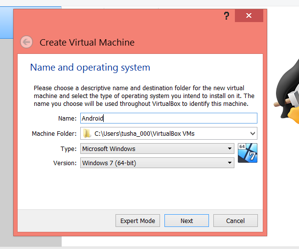 enter the virtual machine specifications