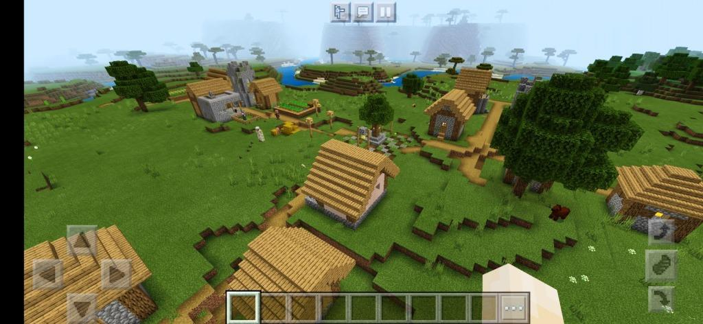 Village with a desert temple