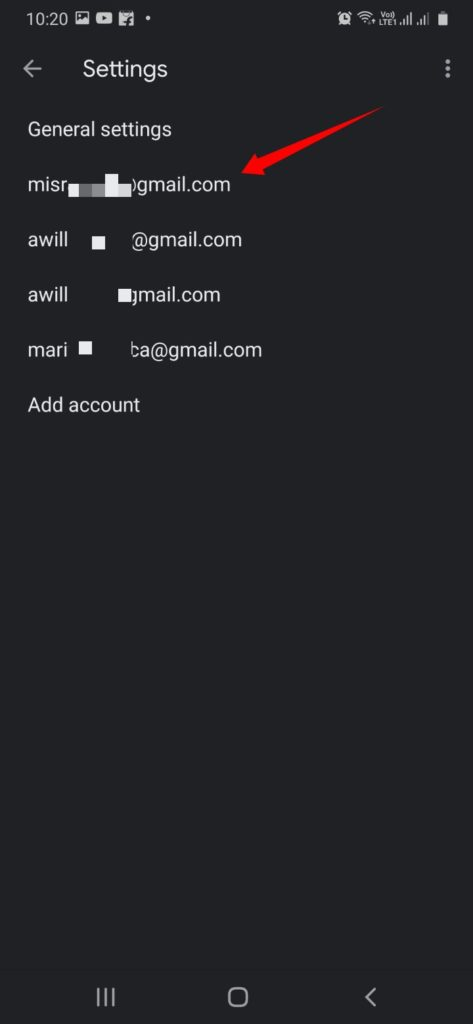 Choose the Gmail Account and select the account with which you have the queued issues