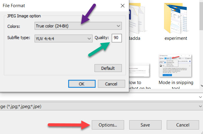 Click to save icon(floppy), you will also get options to compress the image size too