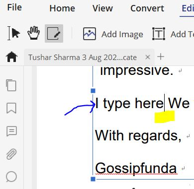 How to type on a pdf-Edit text and image object.