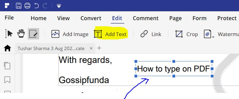 How to type on a pdf-Add Text