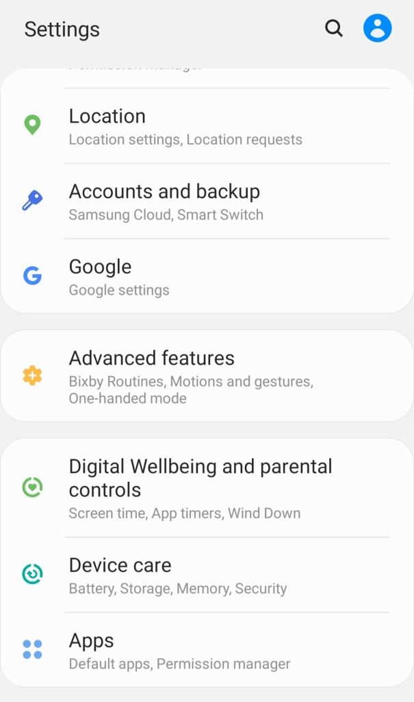 Settings to search com.samsung.android.messaging