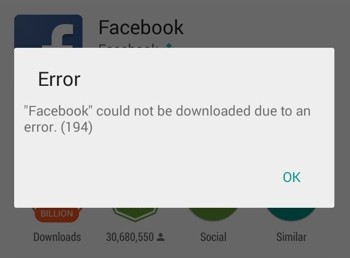 what is error 194 in play store?