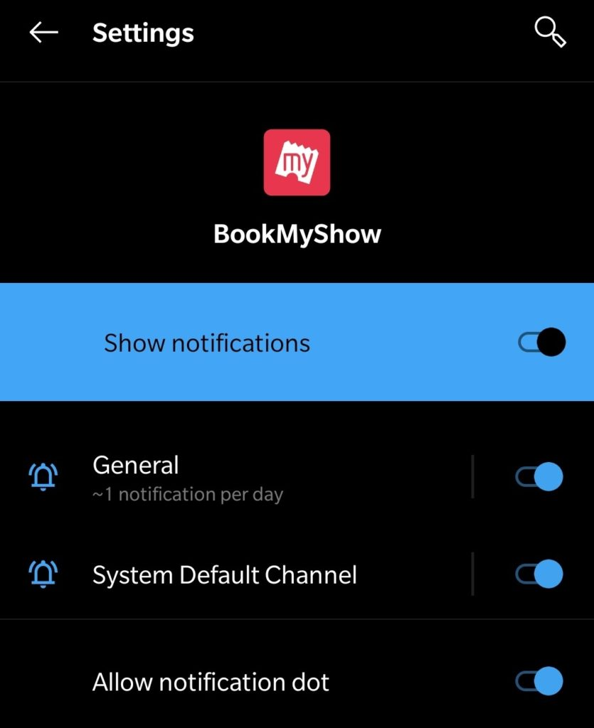 more settings for the notification of that app