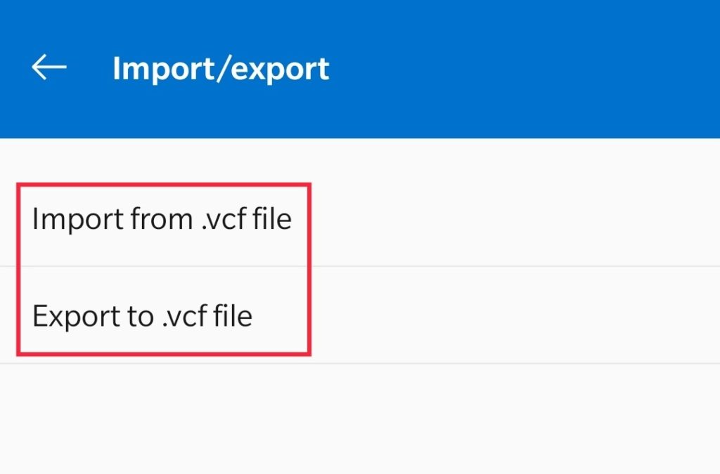 """Choose """"Export"""" your contacts or choose """"Import"""" to install all the data"""