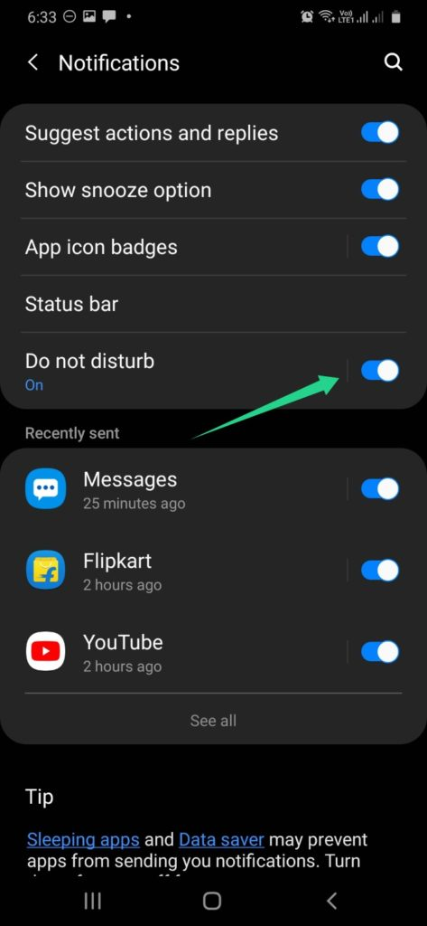How to enable Do Not Disturb mode?