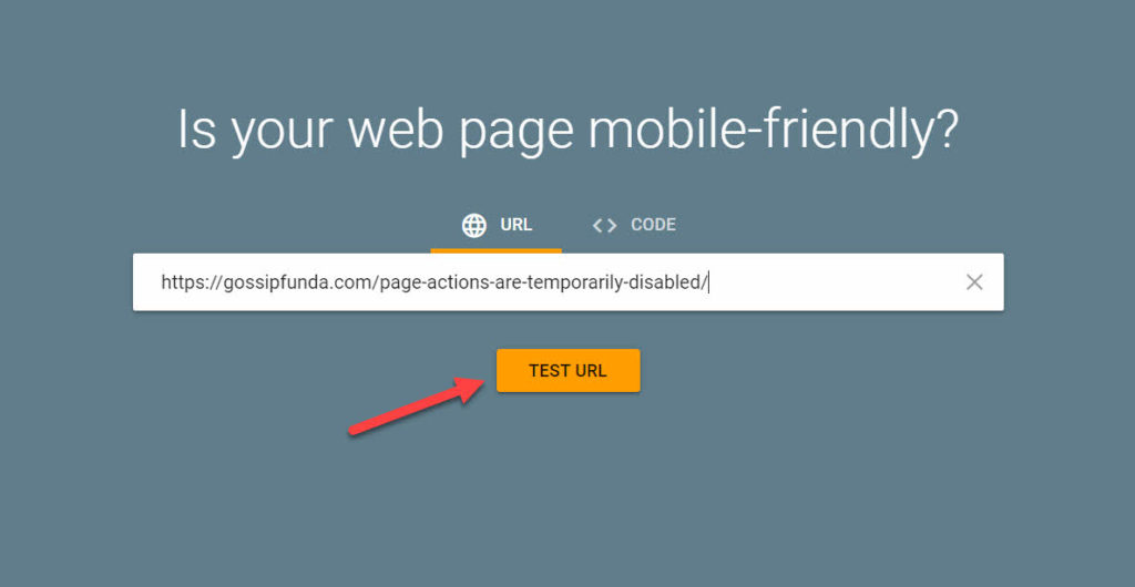 mobile-friendly-test by Google to index URL