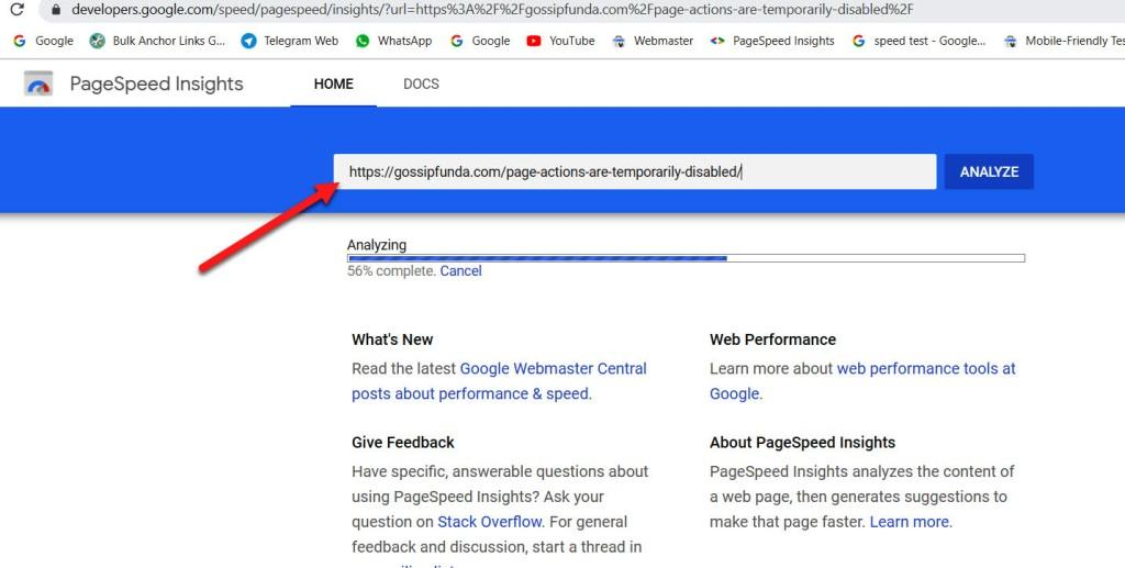 PageSpeed Insights to index URL