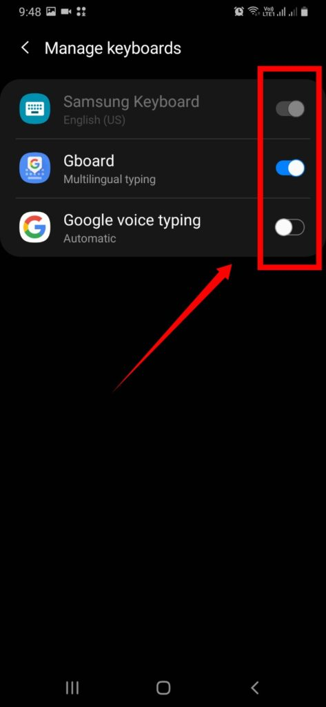Switch the toggle for all the other keyboards