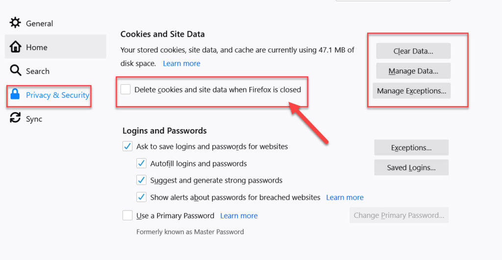 delete cookies and site data when Firefox is closed