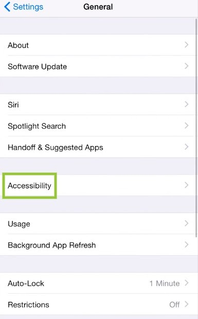 """""""Accessibility"""" and then tap on """"Assistive touch"""""""
