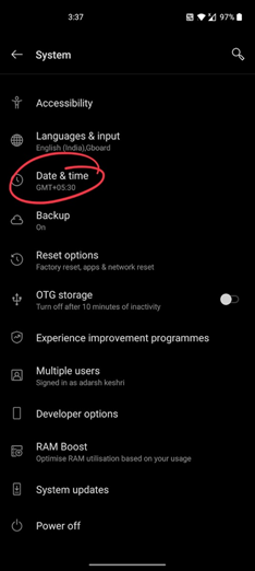 Play store check your connection and try again date problem