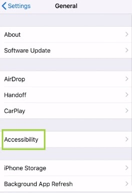 """""""Accessibility"""" and then tap on """"Assistive touch"""