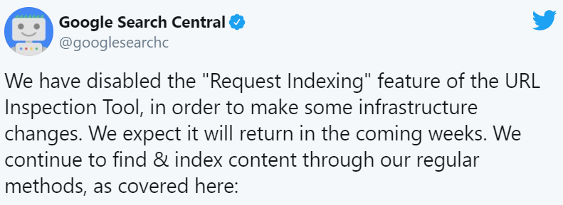 Google webmaster's Twitter handle disabled request indexing