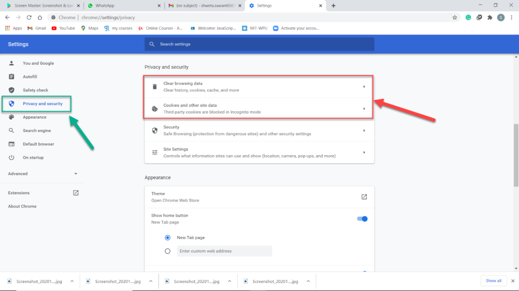 privacy and security-> clear data-> fix Gmail Error 102