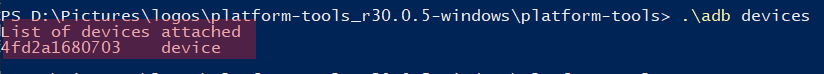 device's serial number in the PowerShell window